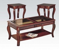 Cherry 3PC C/E Table w/ Glass Top