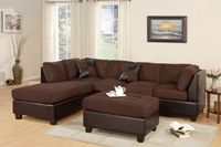 3PC Chocolate  Sectional Sofa